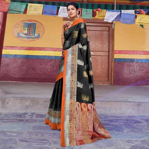 Groovy Black Colored Festive Wear Woven Art Silk Saree