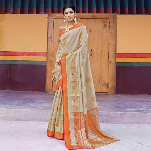 Adorning Beige Colored Festive Wear Woven Art Silk Saree