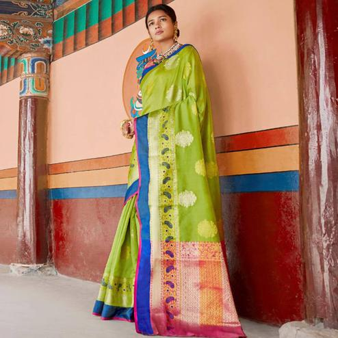 Exclusive Green Colored Festive Wear Woven Art Silk Saree