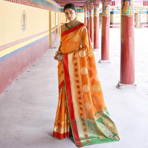 Preferable Orange Colored Festive Wear Woven Art Silk Saree