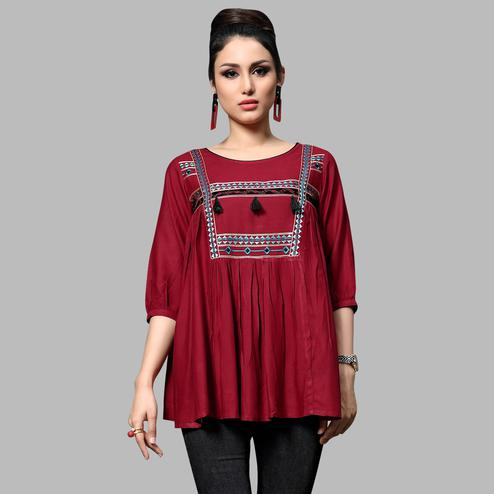 Pleasance Maroon Colored Partywear Embroidered Rayon Top