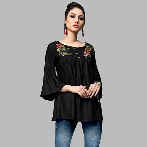 Breathtaking Black Colored Partywear Embroidered Rayon Top