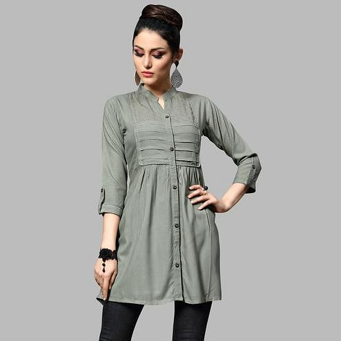 Ravishing Grey Colored Partywear Embroidered Rayon Top