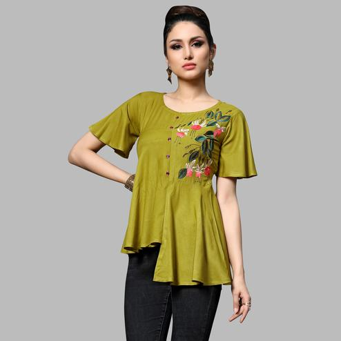 Dazzling Olive Green Colored Partywear Embroidered Rayon Top