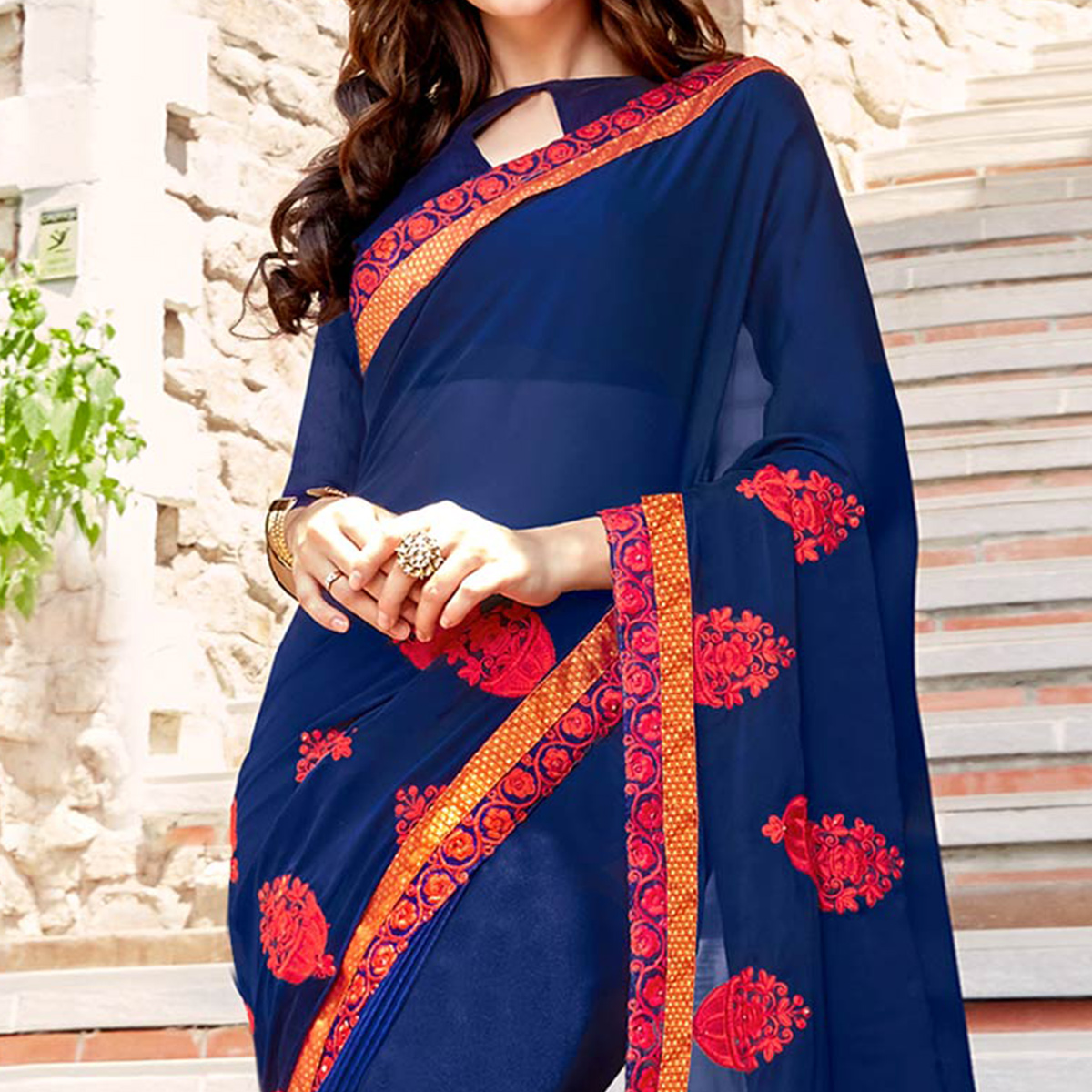Trendy Navy Blue Colored Partywear Embroidered Georgette Saree