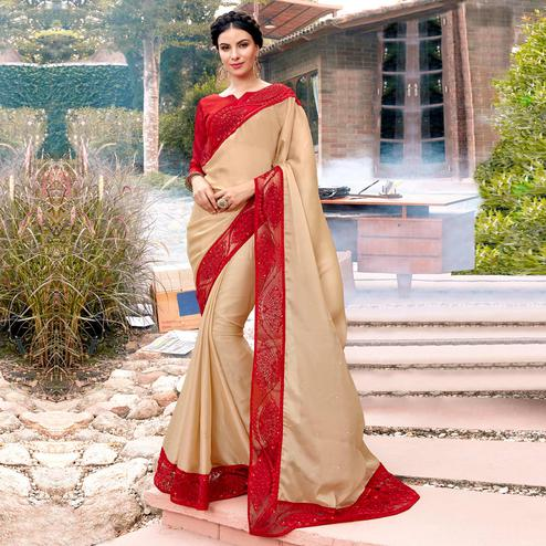Groovy Beige Colored Partywear Embroidered Georgette Saree