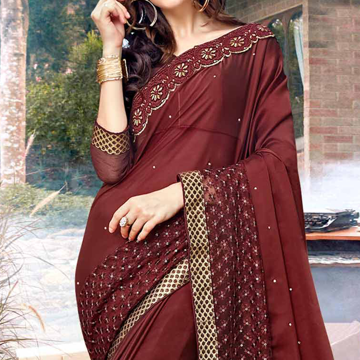 Exotic Brown Colored Partywear Embroidered Georgette Saree