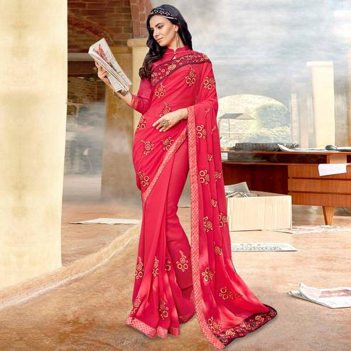 Pleasant Coral Red Colored Partywear Embroidered Georgette Saree