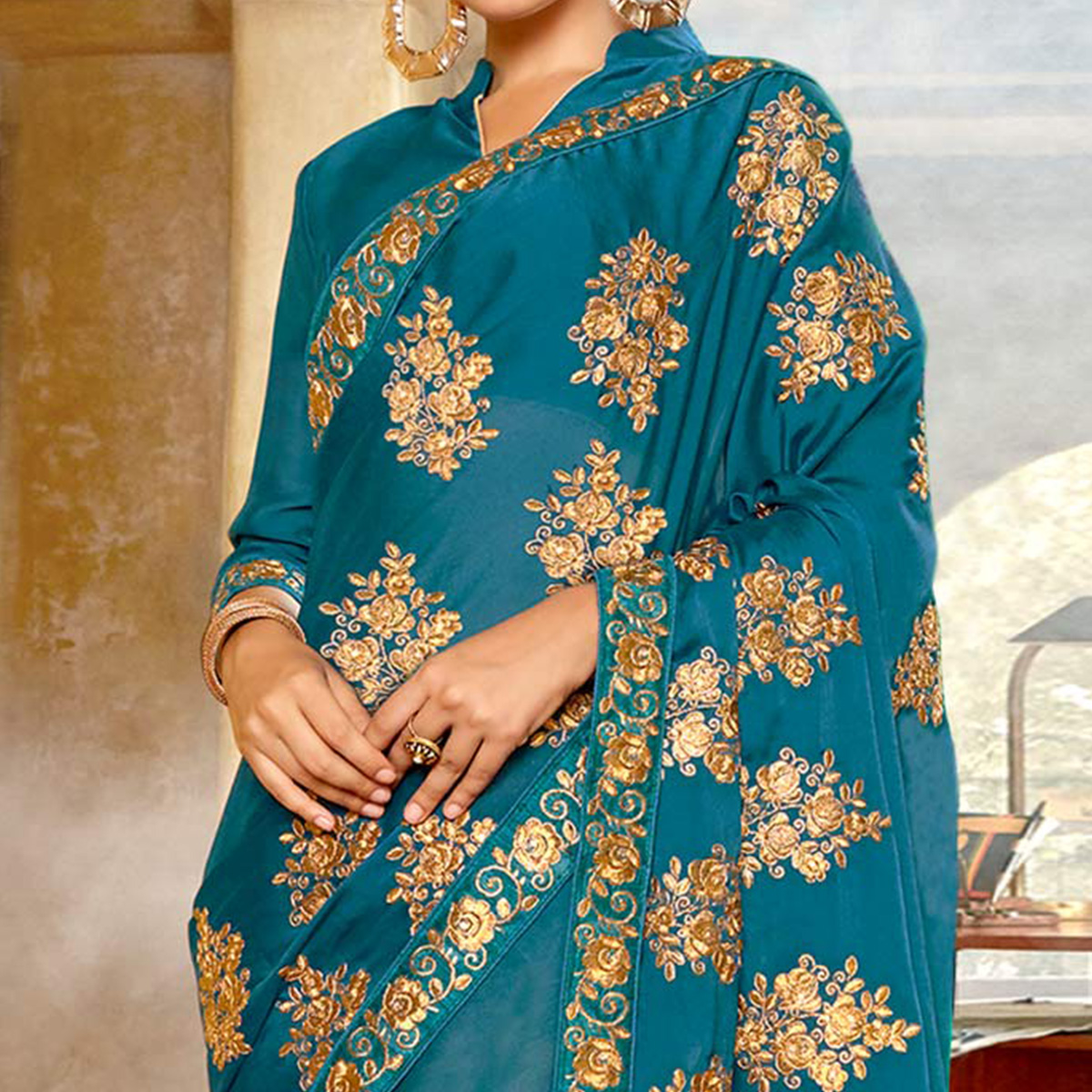 Opulent Rama Blue Colored Partywear Embroidered Georgette Saree