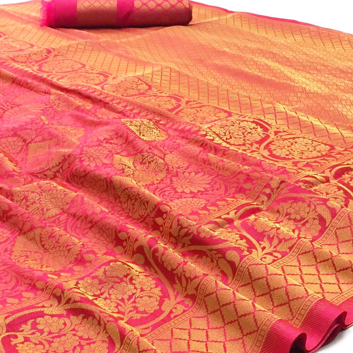 Pleasant Pink Colored Festive Wear Woven Art Silk Saree