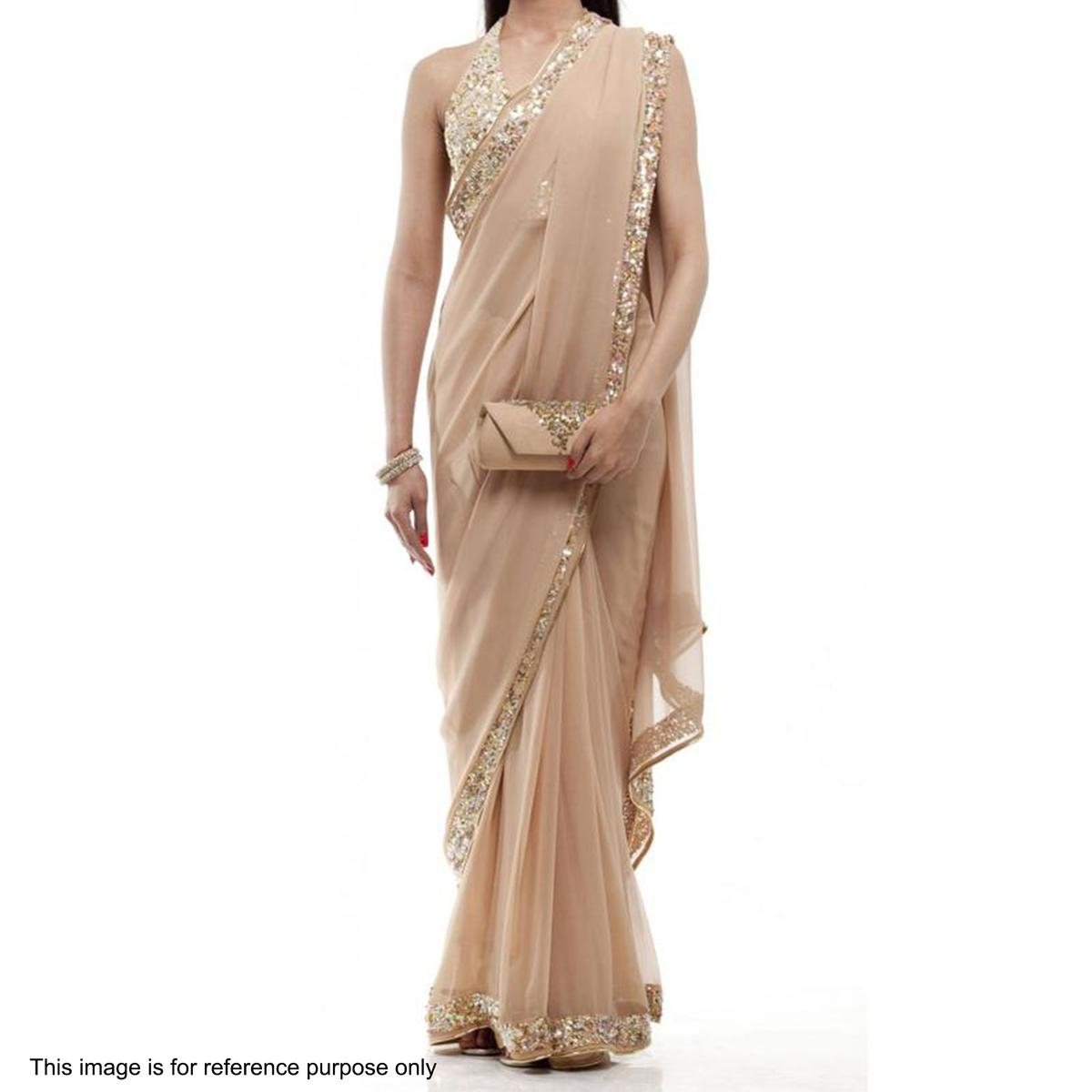 Champagne Color Georgette Saree Online Fashion Shopping