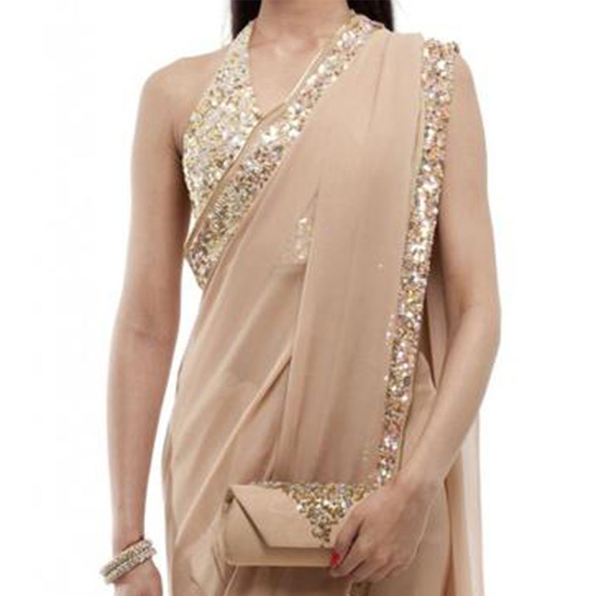 Champagne Color Georgette Saree With Sequins Border