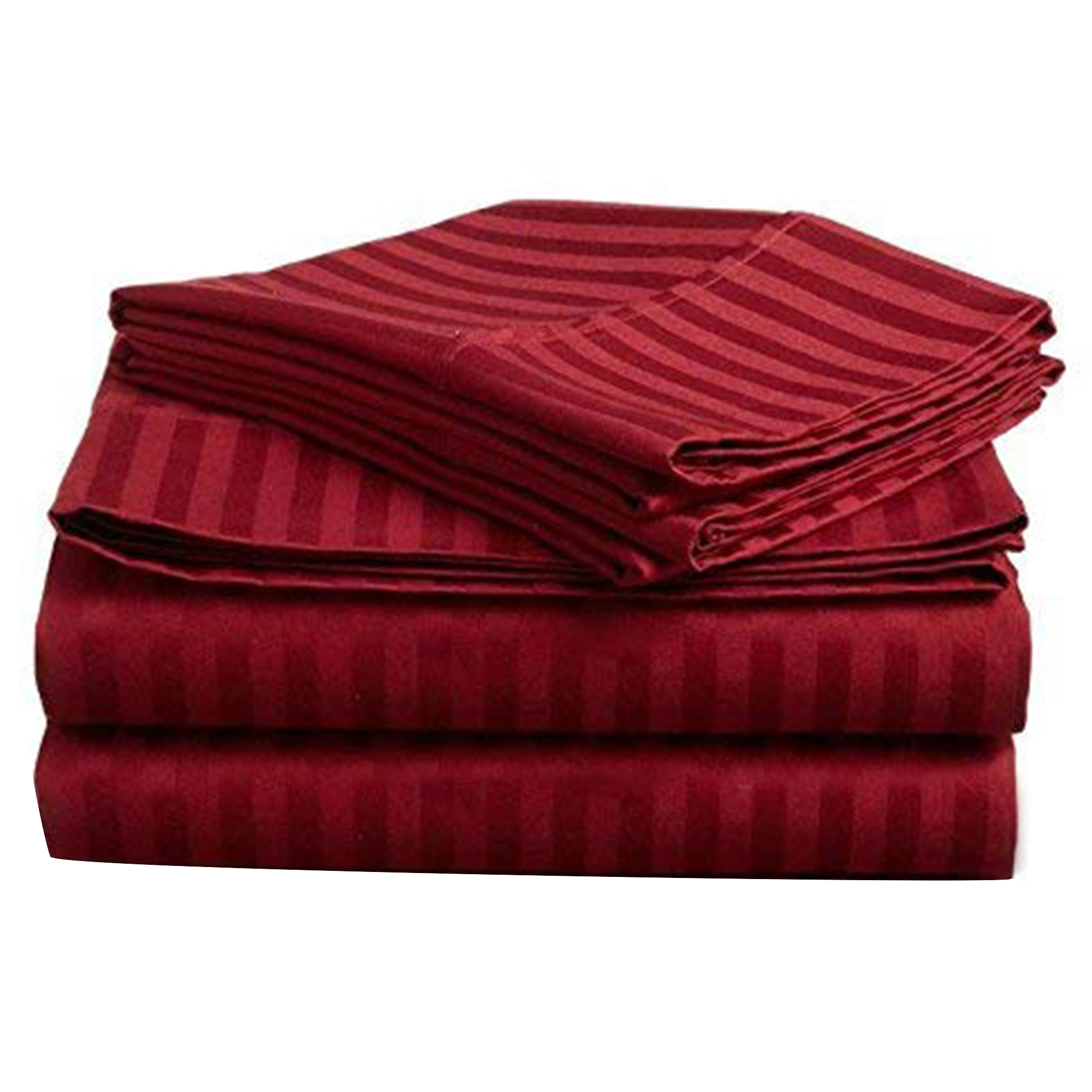 Elegant Red Colored Self Design Cotton Double Bedsheet With Pillow Cover