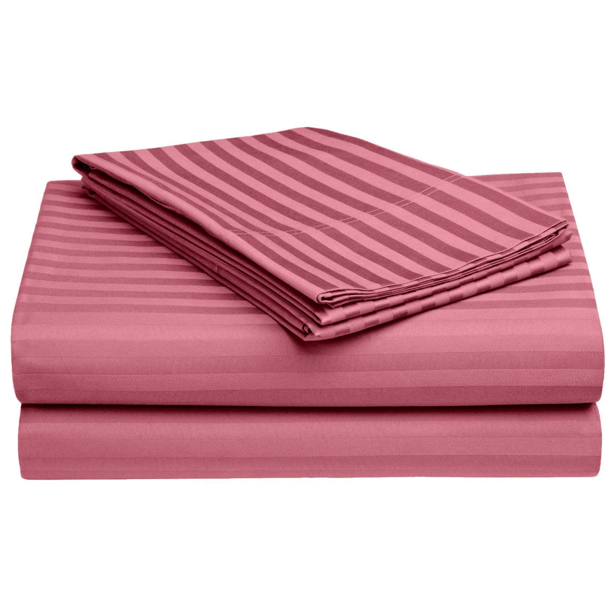 Radiant Peach Colored Self Design Cotton Double Bedsheet With Pillow Cover