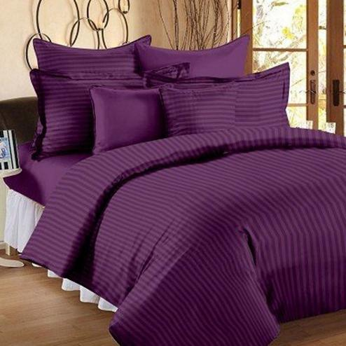Pleasant Purple Colored Self Design Cotton Double Bedsheet With Pillow Cover