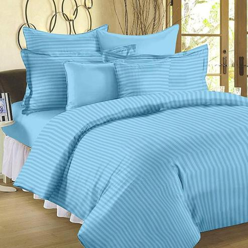 Opulent Light Blue Colored Self Design Cotton Double Bedsheet With Pillow Cover