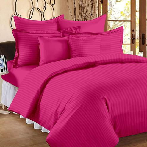Energetic Dark Pink Colored Self Design Cotton Double Bedsheet With Pillow Cover