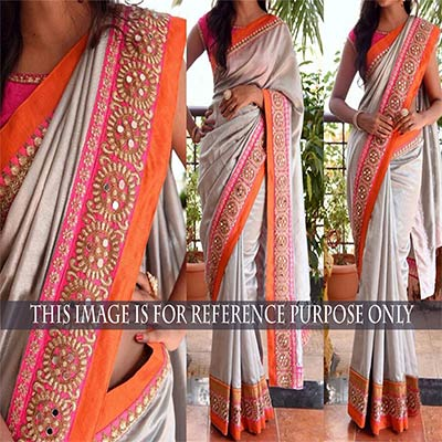 Grey Georgette Half & Half Saree