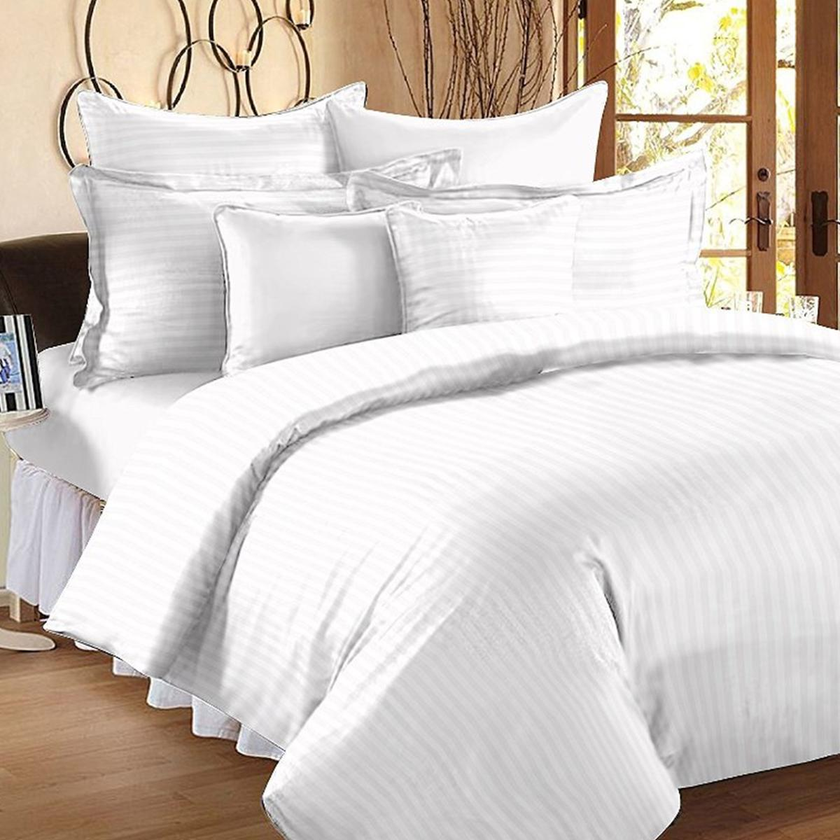 Glowing White Colored Self Design Cotton Double Bedsheet With Pillow Cover