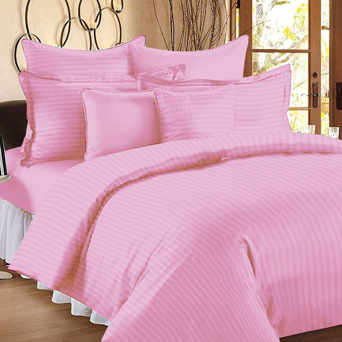 Gleaming Light Pink Colored Self Design Cotton Double Bedsheet With Pillow Cover