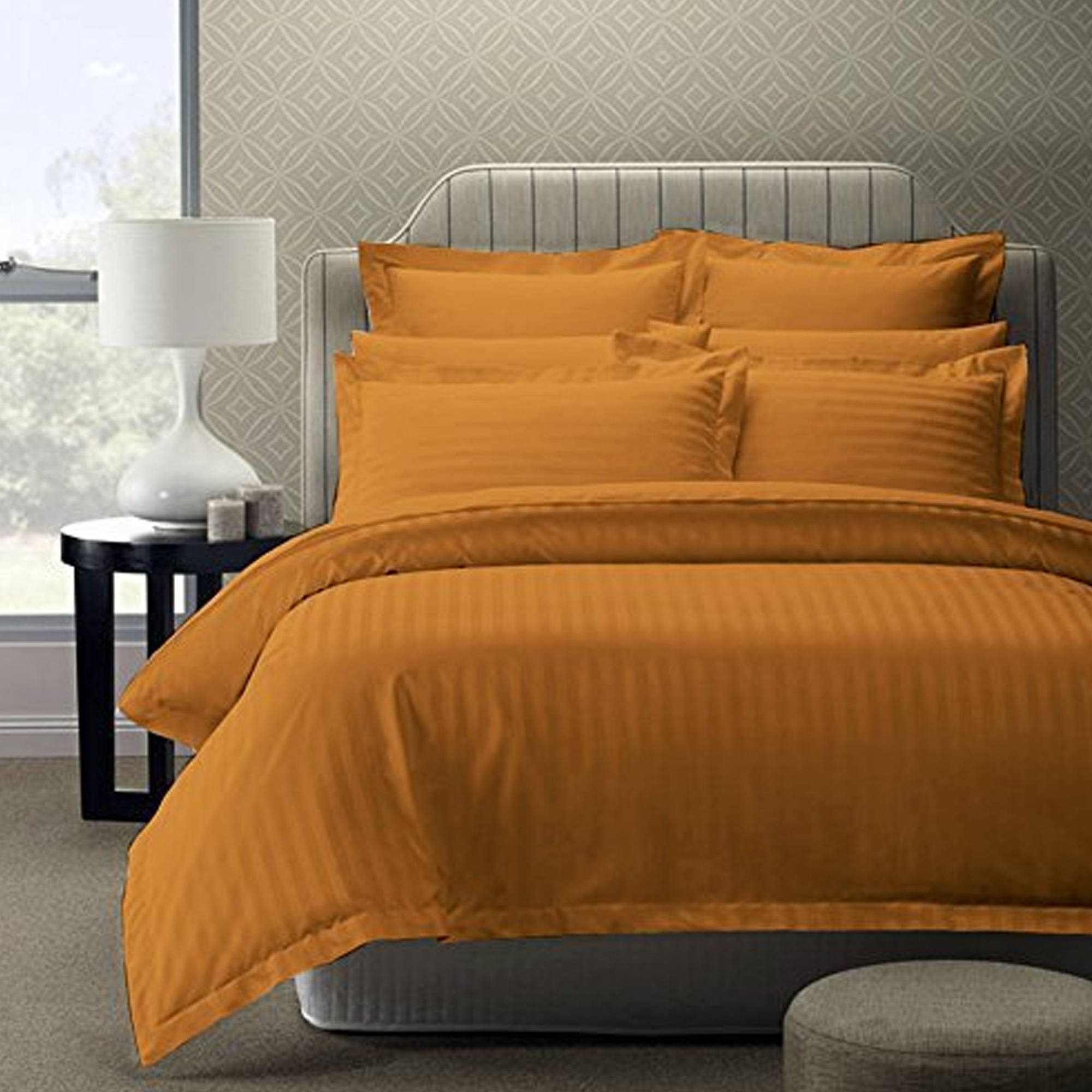 Mesmeric Mustard Gold Colored Self Design Cotton Double Bedsheet With Pillow Cover