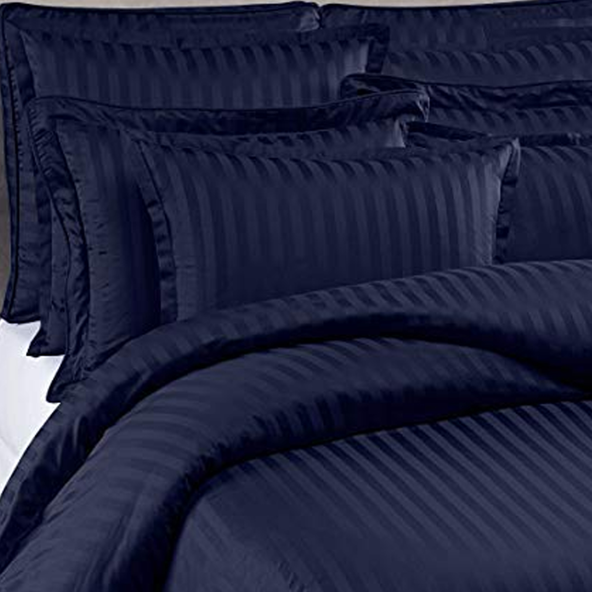 Unique Navy Blue Colored Self Design Cotton Double Bedsheet With Pillow Cover