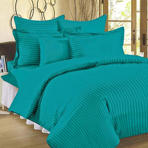 Demanding Turquoise Blue Colored Self Design Cotton Double Bedsheet With Pillow Cover