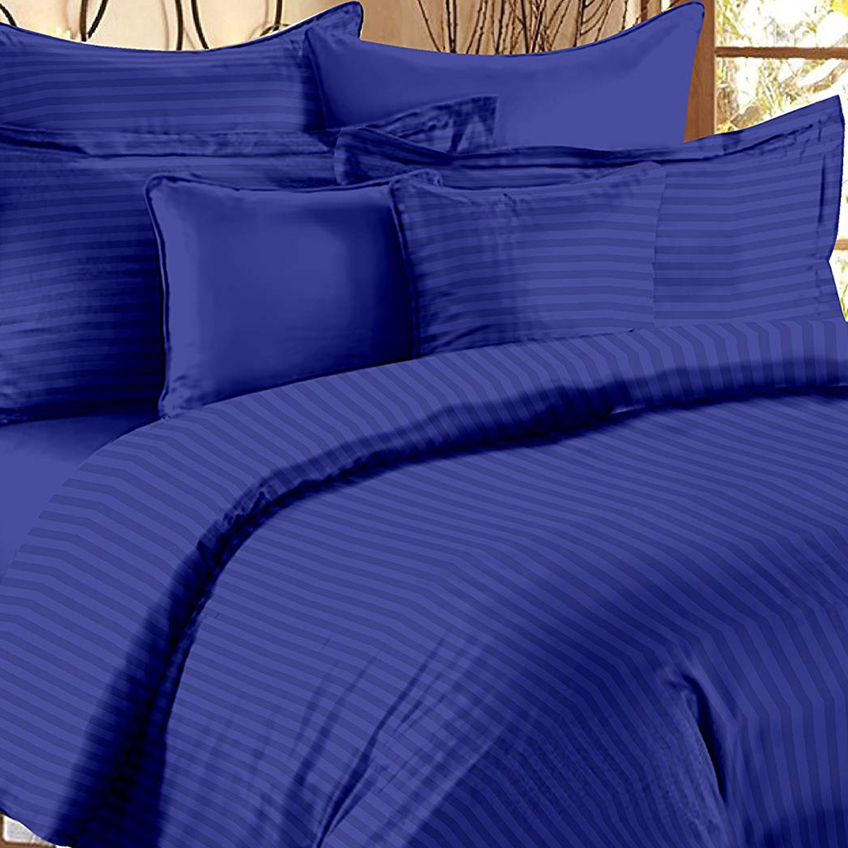 Fantastic Royal Blue Colored Self Design Cotton Double Bedsheet With Pillow Cover