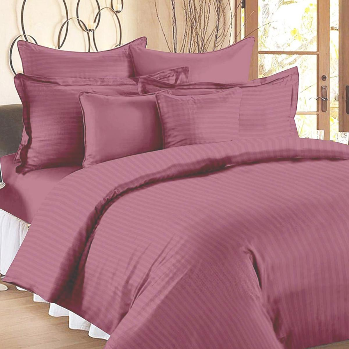 Amazing Mauve Colored Self Design Cotton Double Bedsheet With Pillow Cover