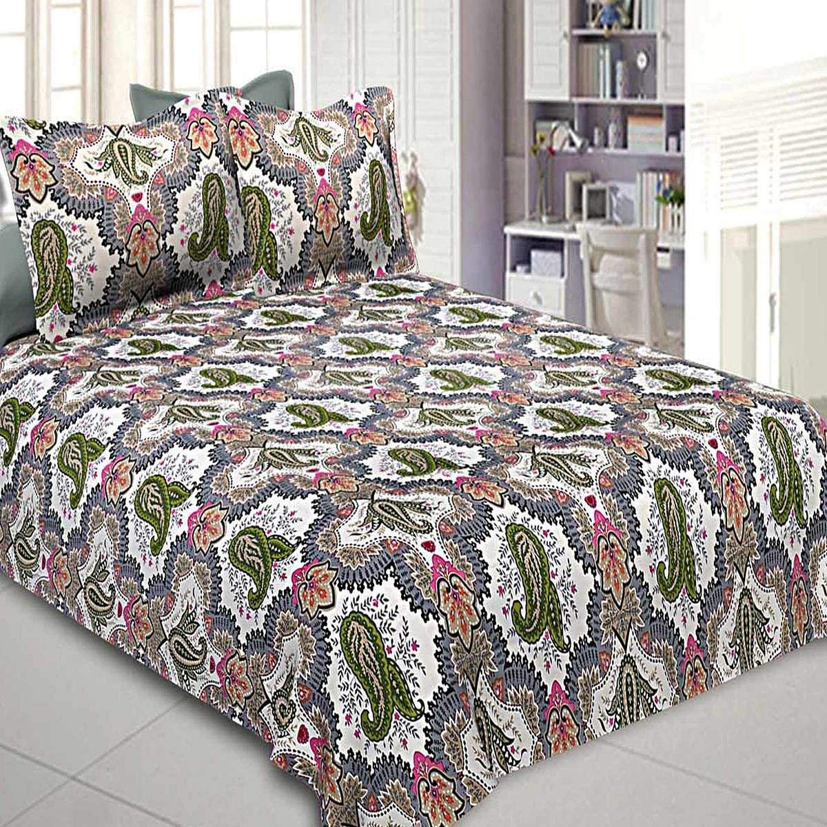 Gorgeous Multi Colored Printed Cotton Double Bedsheet With Pillow Cover