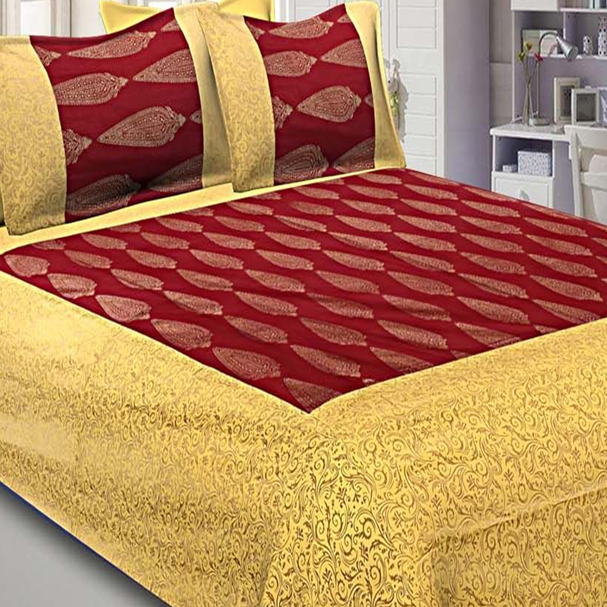 Blissful Maroon-Yellow Colored Printed Cotton Double Bedsheet With Pillow Cover