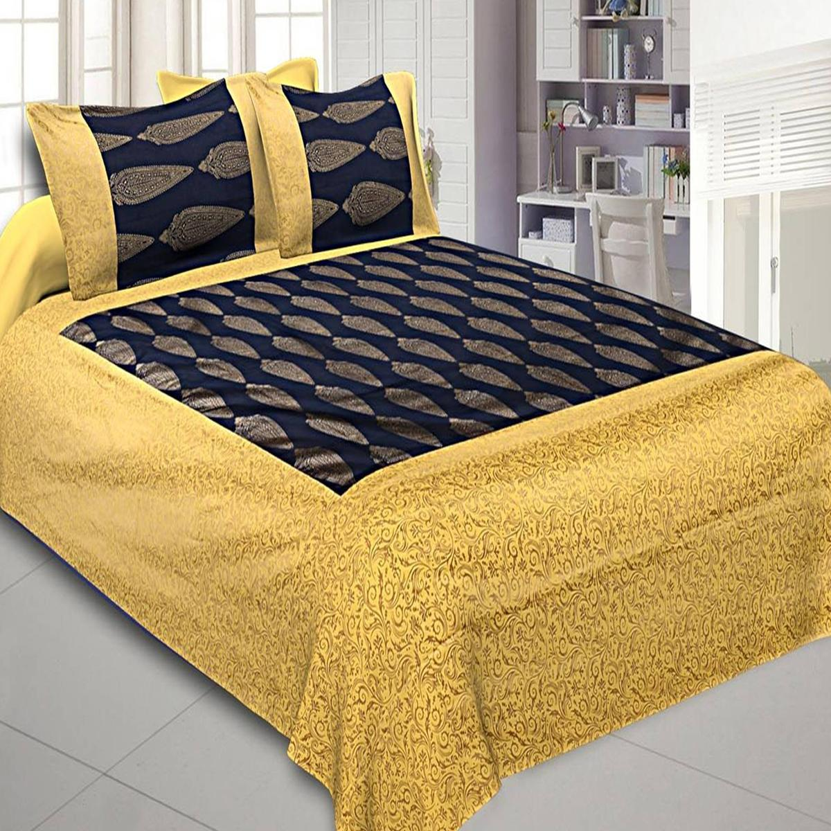 Ideal Navy Blue-Yellow Colored Printed Cotton Double Bedsheet With Pillow Cover