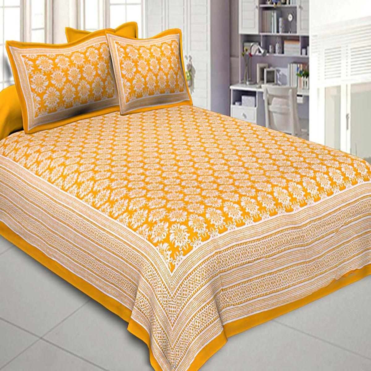 Imposing Yellow Colored Floral Printed Cotton Double Bedsheet With Pillow Cover