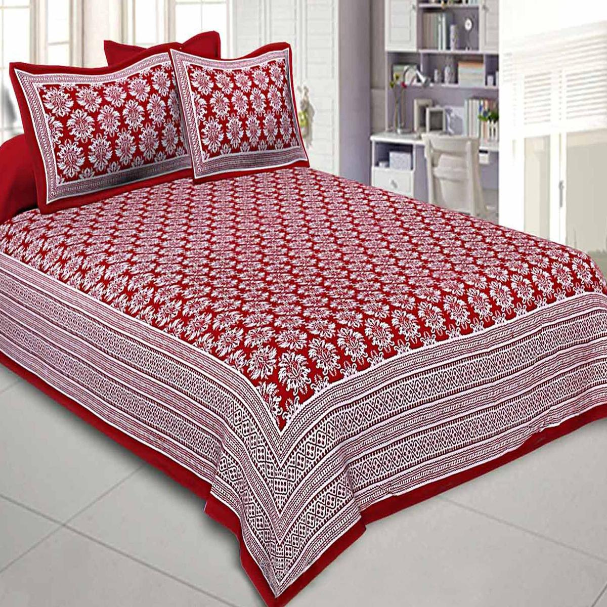 Lovely Red Colored Floral Printed Cotton Double Bedsheet With Pillow Cover