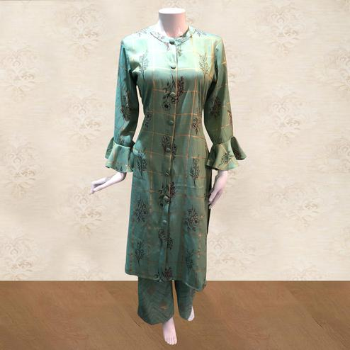 Desiring Green Colored Casual Foil Printed Cotton Kurti-Palazzo Set