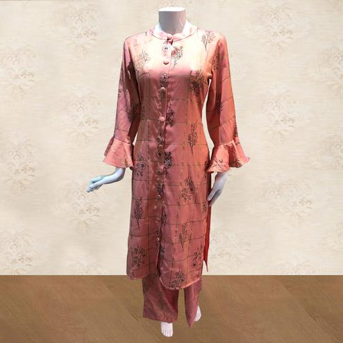 Trendy Peach Colored Casual Foil Printed Cotton Kurti-Palazzo Set
