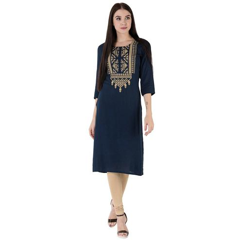 Classy Blue Colored Partywear Embroidered Cotton Kurti