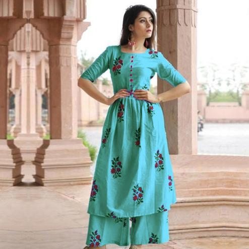 Refreshing Aqua Blue Colored Casual Printed Cotton Kurti-Palazzo Set