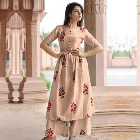 Lovely Beige Colored Casual Printed Cotton Kurti-Palazzo Set
