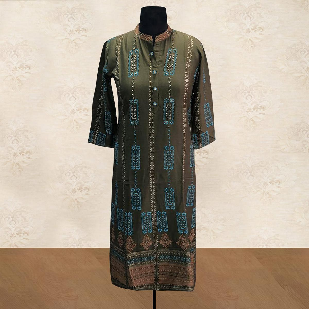 Sophisticated Green Colored Casual Printed Cotton Long Kurti