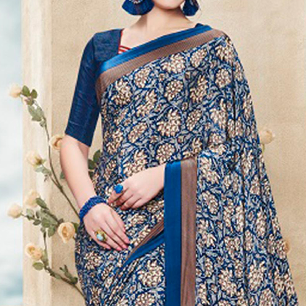 Blue Crepe Printed Saree