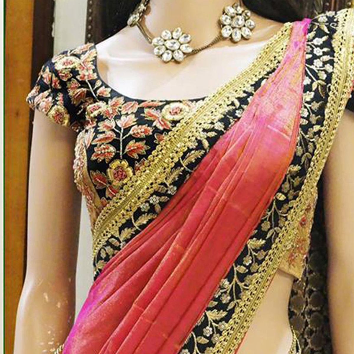New Pink Shaded Designer Saree With Heavy Worked Blouse
