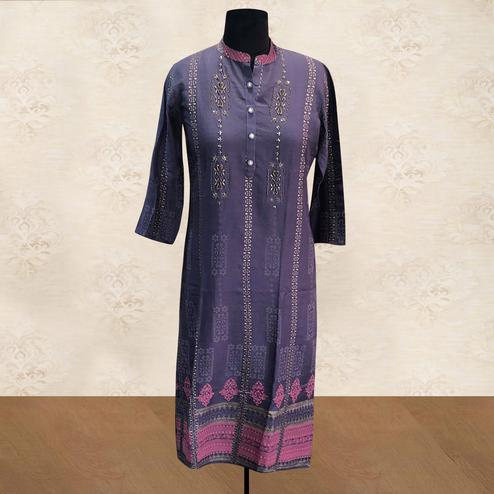 Adorable Purple Colored Casual Printed Cotton Long Kurti