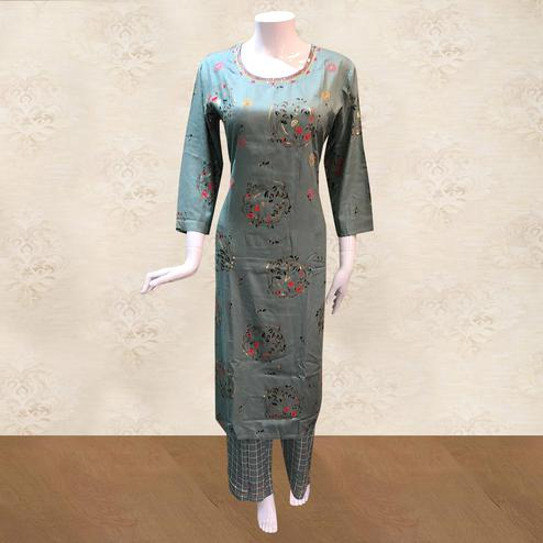 Fantastic Grey Colored Casual Foil Printed Cotton Kurti-Palazzo Set