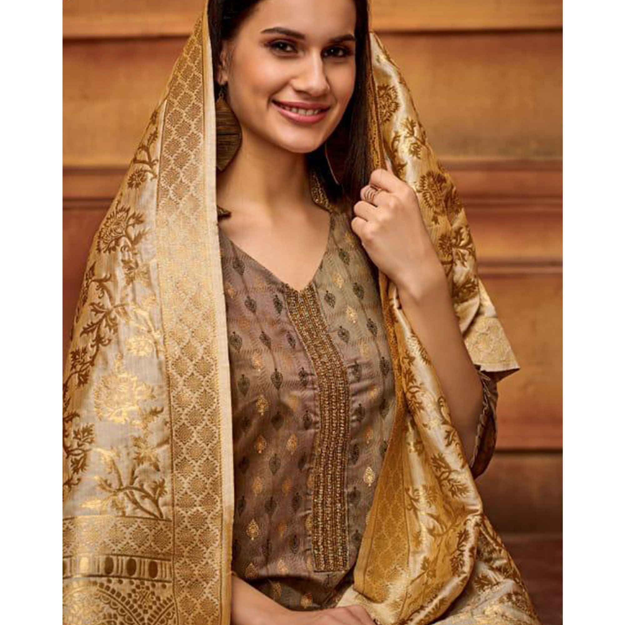 Elegant Brown Colored Partywear Embroidered Viscose Palazzo Suit