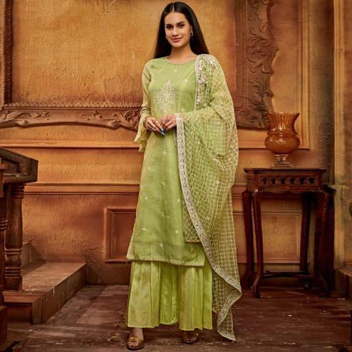 Radiant Green Colored Partywear Embroidered Viscose Palazzo Suit