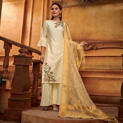 Pleasant Cream Colored Partywear Embroidered Viscose Palazzo Suit