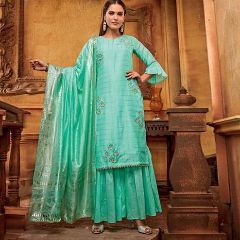 Opulent Aqua Green Colored Partywear Embroidered Viscose Palazzo Suit