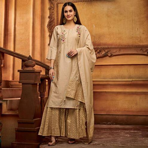 Energetic Beige Colored Partywear Embroidered Viscose Palazzo Suit