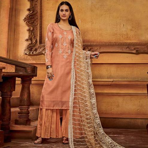 Classy Peach Colored Partywear Embroidered Viscose Palazzo Suit